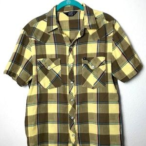 Urban Outfitters Mens Yellow Plaid Short Sleeve M